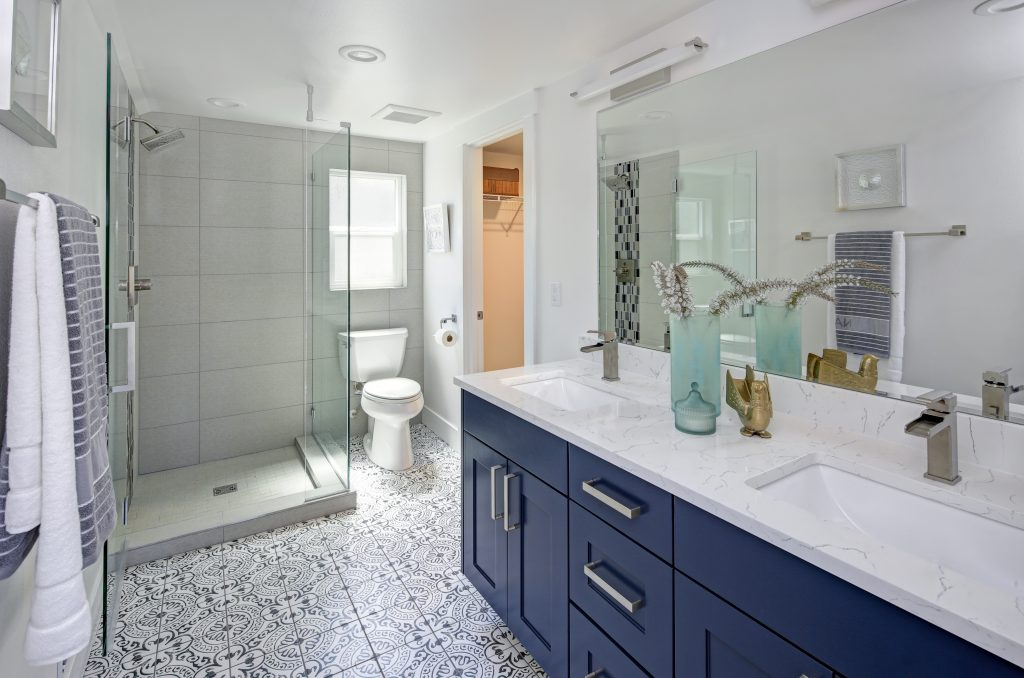 Modern bathroom interior with blue double vanity