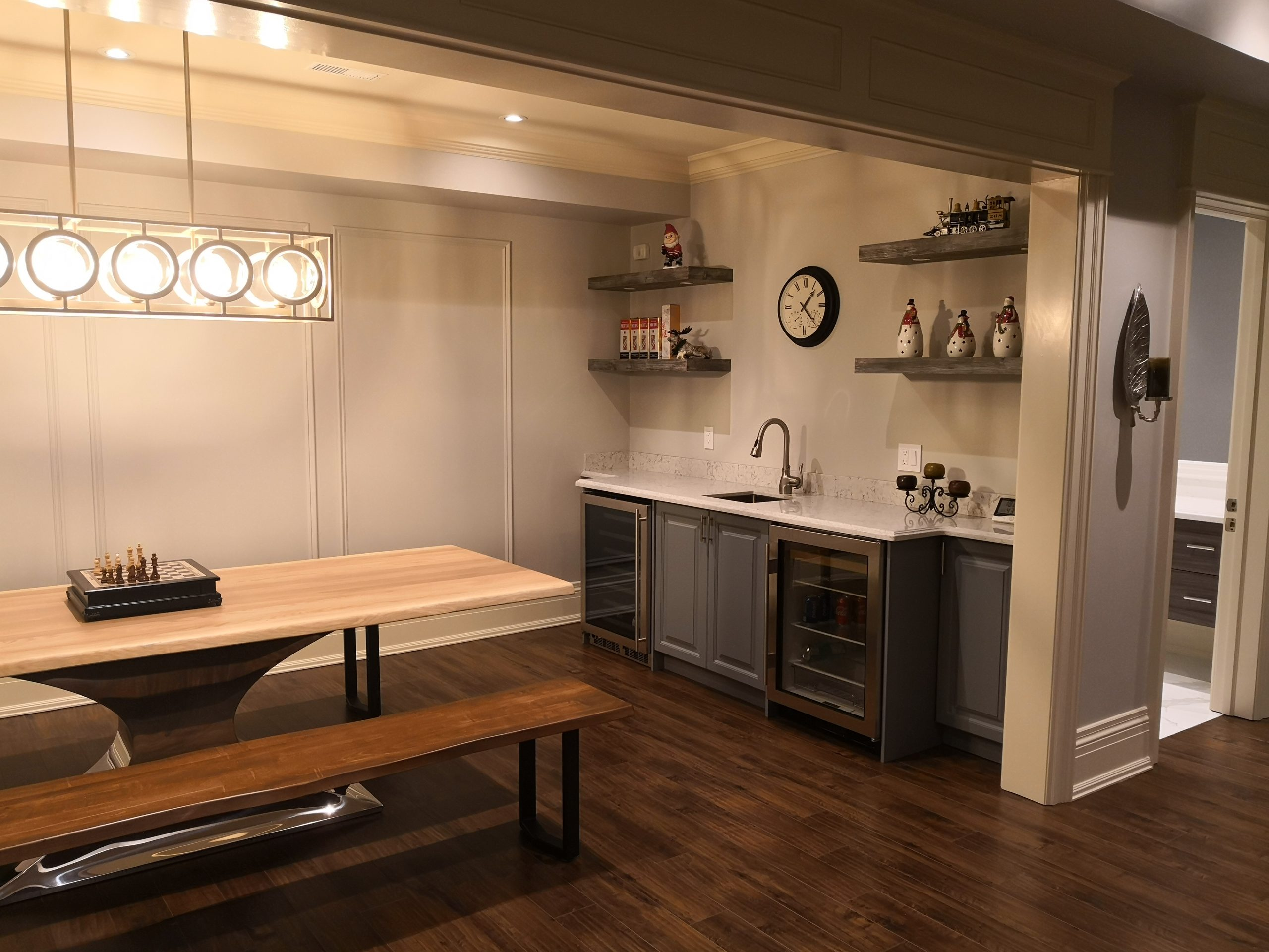 Snack area in renovated basement