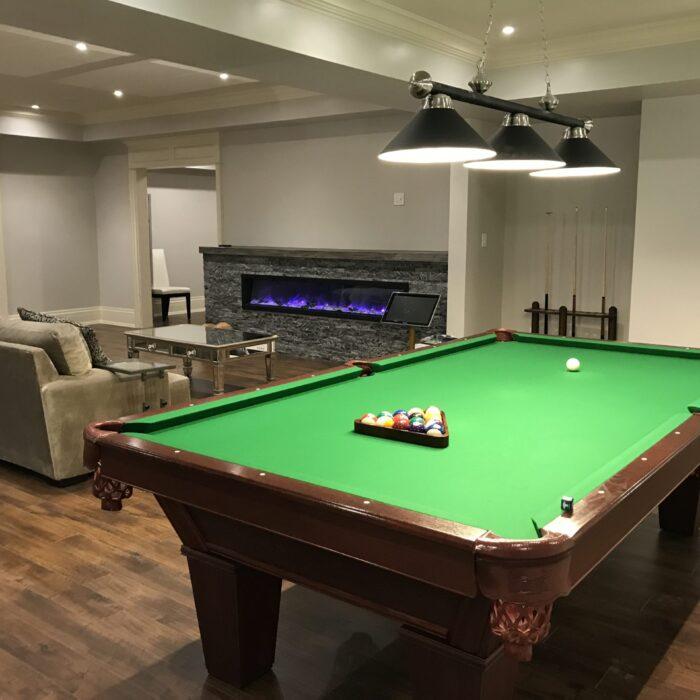 Basement renovation with entertainment area